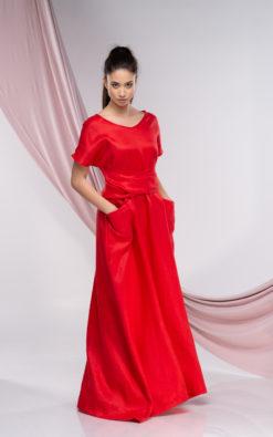 Long Linen Dress With Pockets