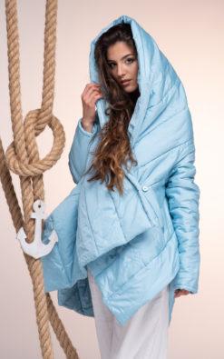 Light Blue Hooded Jacket, Women Hoodie Jacket, Asymmetrical Coat, Extravagant Jacket, Avant Garde Coat, Futuristic Clothing, Puffer Jacket