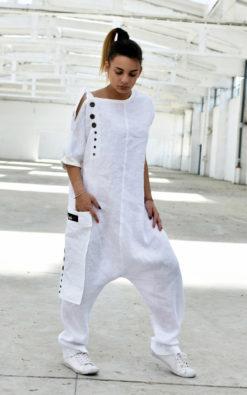 Drop Crotch Linen Jumpsuit
