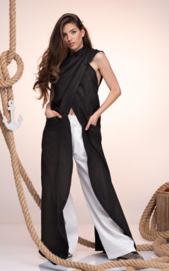 Black Linen Tunic, Maxi Linen Hoodie, Summer Black Tunic, Avant Garde Wedding Tunic, Women Maxi Tunic, Plus Size Tunic, Maxi Linen Vest