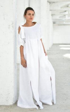 Linen Maxi Dress With Slits