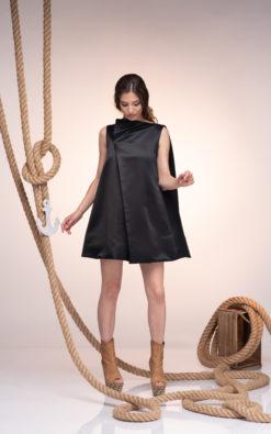 Black Silk Dress, Little Black Dress, Women Oversized Dress, Loose Fit Dress, Plus Size Clothing, Women Mini Dress,Black Wedding Guest Dress