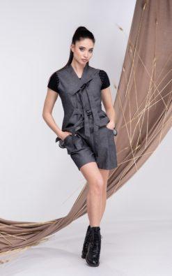 Denim Linen Set - Top And Shorts