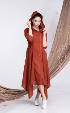 Linen Dress Burnt Orange, Hooded Summer Dress with Two Pockets