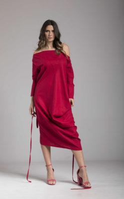 Off Shoulder Linen Tunic Dress with Belt, Midi Dress, Long Sleeve Dress, Straight Fit Dress, Summer Dress, Loose Fit Dress, Slit Dress
