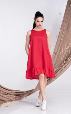 Off Shoulder Dress, Dress with Pockets, Red Linen Dress, Linen Dresses, Red Dresses Women, Dresses for Women, Sleeveless Dress, Summer Sexy Dress, Linen Clothing, A-Linen Dress, Party Dress, Linen Dress Women, Linen Tunic Dress