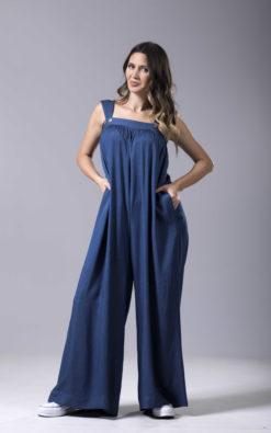 Blue Cotton Jumpsuit, Sleeveless Jumpsuit, Casual Loose Jumpsuit, Wide Leg Jumpsuit, Summer Jumpsuit, One Piece Jumpsuit