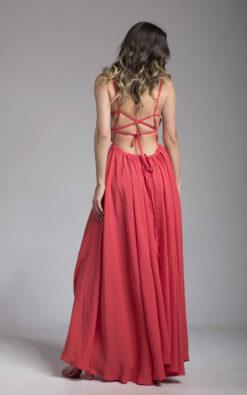 Red Strappy Back Maxi Dress, Open Back Dress, Vacation Dress, Bridesmaid Dress, Elegant Dress, Romantic Dress, Evening Dress, Cocktail Dress