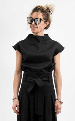 Black linen crop top avant garde clothing, Linen blouse women short sleeve, Womens linen top, Goth shirt for women