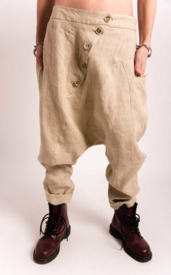 Linen Harem Pants With Buttons