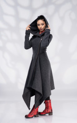 Wool Coat, Cardigan Coat, Hooded Coat, Winter Coats, Coats Women, Womens Coat, Asymmetrical Coat, Extravagant Coat, Coat with Zipper, Black Hoodie, Plus Size Coat, Boiled Wool, Long Coat