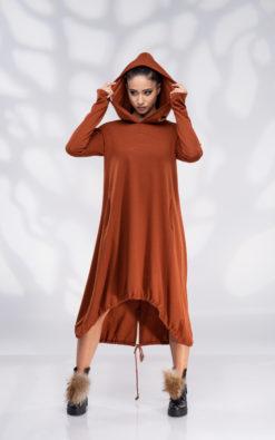 Winter Dress Hooded, Plus Size Dress Burnt Orange
