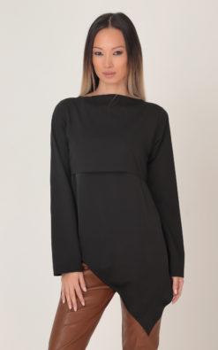 Asymmetrical Black Blouse, Winter Women Blouse, Plus Size Clothing, Long Sleeve Blouse, Futuristic Blouse, Winter Clothing, Plus Size Blouse