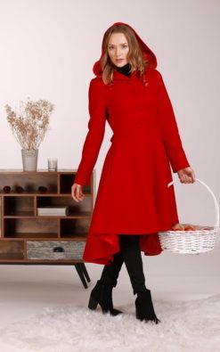 Red Hooded Coat, Wool Coat, Princess Coat, Asymmetrical Coat, Red Riding Hood Coat, Plus Size Clothing, Woolen Coat, Elegant Wool Coat