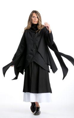 Cyberpunk Jacket, Black Coat Jacket, Steampunk Shirt, Fringe Jacket, Asymmetrical Jacket, Dark Fashion, Fall Clothing, Designer Jacket Coat
