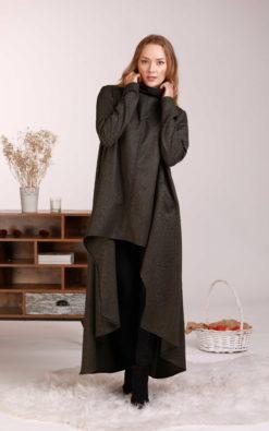 Wool Dress, Asymmetrical Dress, Turtleneck Dress, Winter Sweater Dress, Jumper Dress, Avant Garde Clothing, Warm Woolen Tunic,Designer Tunic