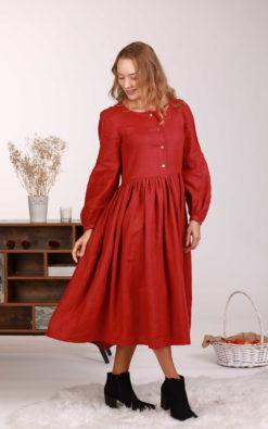 Linen Red Dress, Linen Lounge Dress, Plus Size Linen Dress, Button Dress, Linen Clothing, Maternity Dress, Linen Shirt Dress, Bishop Sleeve