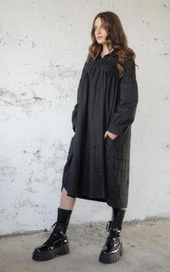 NEW Black Midi Dress, Trapeze Dress, Black Dress, Plus Size Clothing, Dress For Women, Long Sleeve Dress, Oversize Dress, Poplin Black Dress