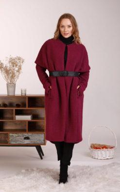 Boiled Wool Coat, Winter Overcoat, Plus Size Clothing, Wool Jacket Coat, Minimalist Clothing, Pocket Coat, Elegant Coat, Leather Belt Coat