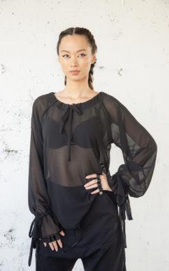 Sheer Black Blouse, Women Sheer Blouse, See Through Blouse, Chiffon Blouse, Plus Size Clothing, Sexy Blouse, Fall Blouse, New Year Blouse
