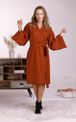 Linen Kimono Dress, Loungewear Women, Linen Clothing, Linen Wrap Dress, Japanese Clothing, V Neck Dress, Linen Midi Dress, Wide Sleeves