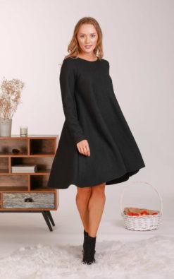 Black Midi Dress, Wool Dress, Minimalist Clothing, Long Sleeve Dress, Petite Dress, Pocket Dress, Wool Tunic Dress, Plus Size Clothing,Loose