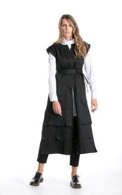 Avant Garde Vest, Black Long Vest, Japanese Clothing, Gothic Vest, Futuristic Clothing, Steampunk Vest, Fall Clothing, Designer Top Vest