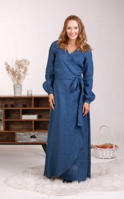 Wrap Linen Dress, Blue Wrap Dress, Maxi Linen Dress, Bishop Sleeve Dress, Linen Clothing, V Neck Linen Dress, Plus Size Dress, Lounge Dress