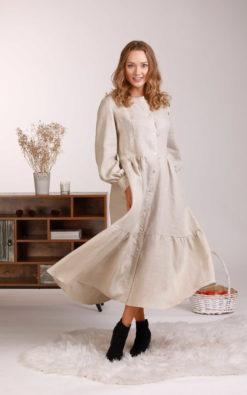 Linen Maxi Dress, Shirt Dress, Linen Clothing, Natural Color Dress, Linen Retro Dress, Lounge Clothing, Bishop Sleeve Dress,Plus Size Linen