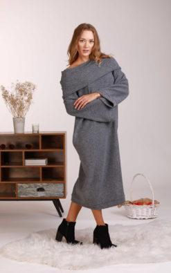 Wool Knit Dress, Lounge Dress, Winter Tunic Dress, Wool Sweater Dress, Plus Size Clothing, Off Shoulder Dress, Long Sleeve Dress, Woolen