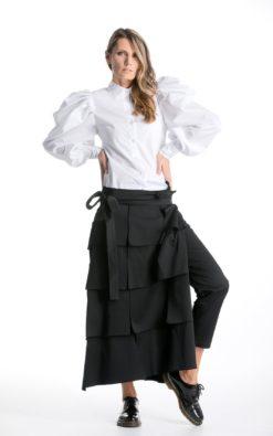 Futuristic Pants With Detachable Skirt, Designer Pants, Avant Garde Clothing, Winter Skirt Pants,Fall Futuristic Clothing,Festival Cyberpunk