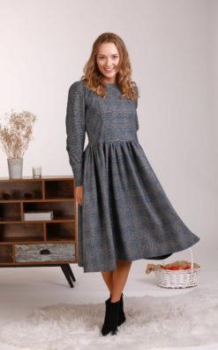 Wool Midi Dress, Grey Winter Dress, Modest Dress, Plaid Dress, Plus Size Clothing, Woolen Dress, Elegant Dress, Retro Dress, Prairie Dress