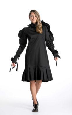 Futuristic Dress, Designer Dress, Black Midi Dress, Gothic Dress, Avant Garde Clothing, Dark Fashion, Plus Size Dress, Pleated Dress, Shift