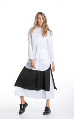 Avant Garde Skirt with 2 Layers, Black and White Skirt for Cocktail Parties,