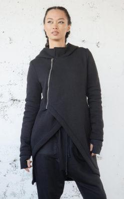 NEW Sweatshirt Jacket, Black Sweatshirt, Winter Jacket Sweatshirt, Hooded Jacket, Fall Sweatshirt Jacket, Asymmetric Jacket, Plus Size