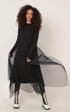 NEW Jersey Tulle Dress, Black Jersey Dress, Plus Size Midi Dress, Black Tulle Dress, Plus Size Clothing, Gothic Tulle Dress, Alternative