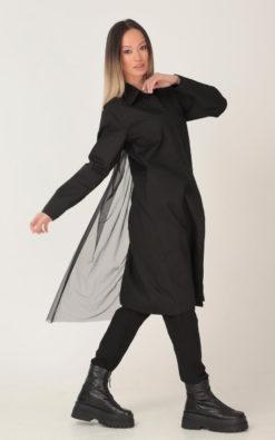 New Black Tulle Dress, Black Shirt Dress, Plus Size Asymmetric Shirt Dress, Gothic Shirt Dress, Fall Clothing, Black Midi Dress Poplin,