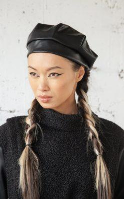 Beret Hat, Women Hat, Black Hat, Vegan Leather Hat, Classic Hat, French Beret, Slouchy Beret, Tam Hat, Winter Beret, Leather Beret, Xmas