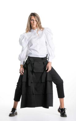 White Shirt With Puff Sleeves, Victorian Style Shirt, Elegant Shirt, Avant Garde Clothing, Designer Top, Bishop Sleeves Shirt, Cocktail Top