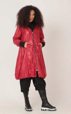 Winter Hooded Jacket, Nylon Jacket, Women Jacket, Red Jacket, Parka Coat, Plus Size Clothing, Waterproof Jacket, Zipper Jacket, Long Jacket