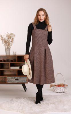 Wool Apron Dress, Pinafore Dress, Plaid Dress, Winter Dress, Vintage Style Dress, Woolen Dress, Retro Dress, Pinup Dress, 1950's Dress