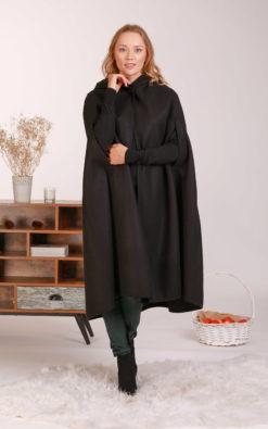 Black Wool Cloak, Winter Poncho Coat, Wool Cape Coat, Plus Size Clothing, Hooded Coat, Fall Clothing, Long Cloak, Halloween Cloak, Gothic