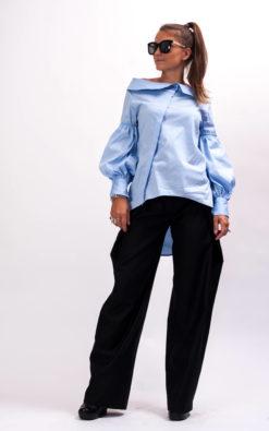 Avant garde collared shirt women, Asymmetrical shirt women, Blue long sleeve blouse women, Womens cotton top