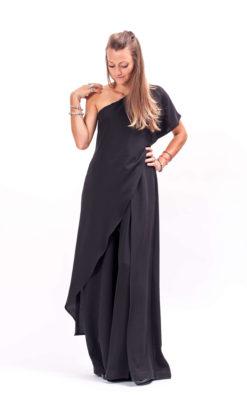 Black one shoulder jumpsuit women, Open shoulder overalls women, Extravagant jumpsuit womens, Black romper women