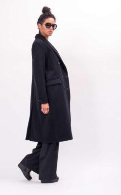 Wool long black coat from our new winter collection, Handmade wool women's winter coat, Fancy oversized coat, No ordinary long black coat
