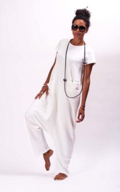 Off white drop crotch jumpsuit women, Off white overalls women Oversized jumpsuit womens, Cotton romper women