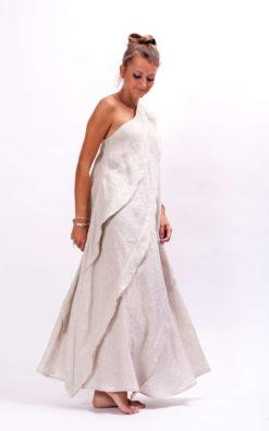 Beige linen kaftan dress linen clothing, Linen maxi dress bohemian dress for women, Party Dress One Shoulder Dress,