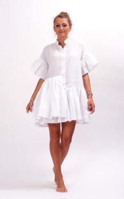Plus size linen dress organic clothing, White beach dress, Linen boho mini dress, Day dress linen clothing for women