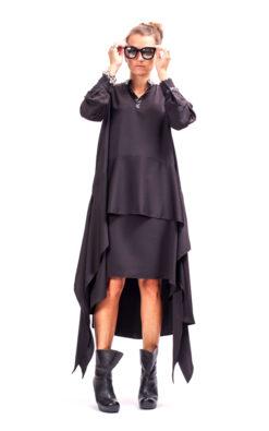 Goth dress, Long sleeve formal dress avant garde clothing for women, Black plus size dress