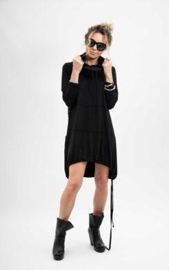 Black minimal hoodie dress, long sleeve dress a line skater dress, Sweater dress women casual clothing, Turtleneck dress